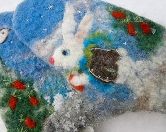 Children winter mittens  baby mittens felted kids merino wool mittens toddler gloves winter gloves knitted mittens holder Christmas gift