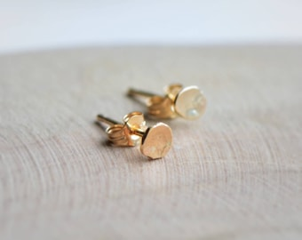 Tiny Gold Earrings, Solid Gold Dot Earrings, Organic 9kt Gold Dot Earrings, Gold Stud Earrings, Minimalist Earrings, Gold Jewelry Gift, SRR