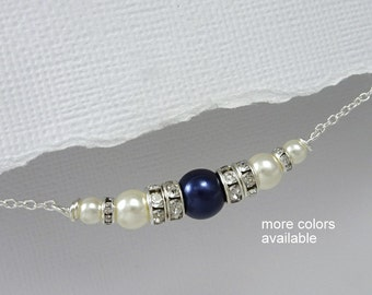 Navy Wedding Necklace, Navy and Ivory Pearl Necklace. Mother of the Groom Gift, Dark Blue Pearl Bridesmaid Necklace, Gift for Mom