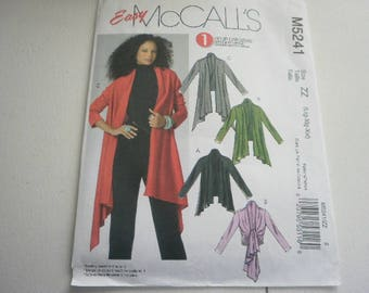 Pattern Women Plus Size Cardigans 3 Styles Sizes 16 to 26 McCalls 5241