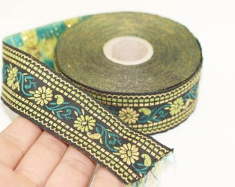 35 mm Black & Green Floral Jacquard ribbon (1.37 inches) - Jacquard trim  - Sewing Trim - Collar Trim, Ribbon by the yards, Vintage ribbon