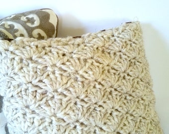 Chunky Crochet Shell Accent Toss Throw Pillow Cover MADE TO ORDER Knit Autumn Fall Winter Cozy Rustic Urban Farmhouse French Country Decor