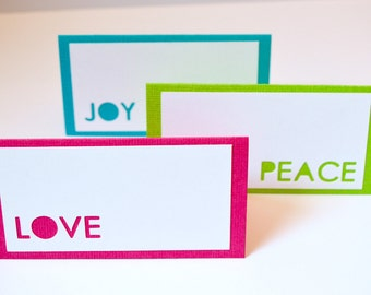 Christmas Food Labels or Place Cards Hot Pink, Lime Green, & Turquoise