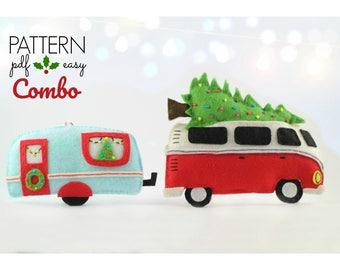 Christmas Decoration Pattern  Camper Caravan Christmas Ornament  VW Combi   Felt Christmas Ornament Pattern  VW Camper Decor