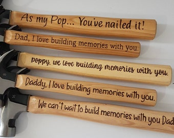 Hand Burnt Personalised hammer - Fathers Day - Father of the bride gift - 8oz wooden hammer