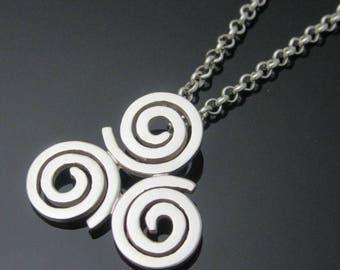 Newgrange Pendant - Triskele Pendant - Triple Spiral Necklace -Irish Jewelry - Celtic Jewelry - Designed and Made in Ireland