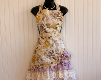 Apron for Women with Ruffles and Lace; Retro Apron with Pockets; Yellow and Lavender Floral Print Apron; Petticoat Apron by Kozy Kitchens