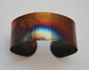 Coloured steel raven cuff, Multi coloured stainless steel bangle, medium rainbow surgical steel cuff