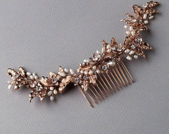 Rose Gold Bridal Hair Comb, Floral Wedding Headpiece, Rose Gold Bridal Back Piece, Freshwater Pearl Comb, Wedding Hair Comb, Bride - 7028