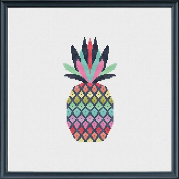 Pineapple cross stitch pattern instant download digital