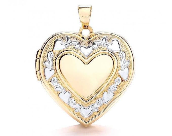 9ct 2 Colour Gold Large Heart Shaped 2 Photo Locket With Engraved Floral Border
