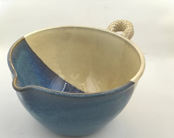 Blue and Cream Batter Bowl - Pottery Batter Bowl - Batter Bowl - Handmade Pottery Batter Bowl
