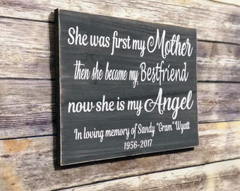 Memorial Sign for Mother Memorial Sign for Mom Mother In Loving Memory Sign In Memory of My Mom In Memory of Sign for Walls Rustic Memorial