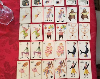 Partial Set of OLD MAID Card Game, Vintage Circus Children's Playing Cards, Whitman, U.S.A. 37 Cards, Replacement, Ephemera, Scrapbooking