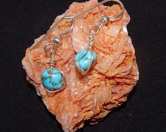 Small Drop Earrings of Silver and Turquoise