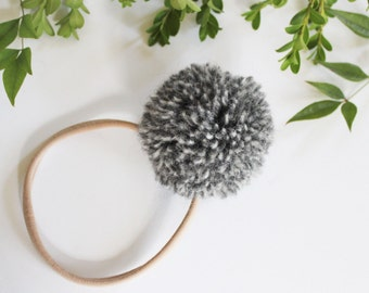 Nylon Baby Headbands - Big Pom-Pom - Newborn Headband - Handmade Wool Pom Pom