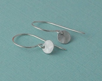 Tiny silver hammered disc earrings sterling silver minimalist
