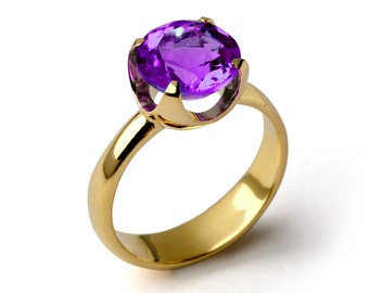 CUP Amethyst Engagement Ring, Purple Amethyst Ring, Yellow Gold Amethyst Ring, Amethyst Promise Ring, Large Amethyst Ring, Mothers Day Gift