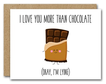 PRINTABLE Printable Funny Love Card, Funny Anniversary Card, Couples Card, Funny Valentines Card, Chocolate Lover Card, INSTANT DOWNLOAD