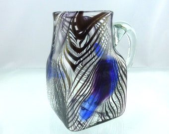 Beautiful Rare Mid Century Hand Blown Peacock Feather Design Glass Jug