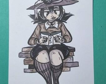 Original Halloween inktober book witch illustration