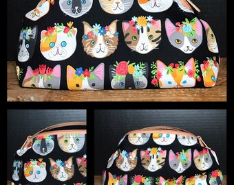 Colorful Cats with flower crowns   make up bag, money bag, cosmetic bag, everything bag, Plum & Khloe Design bag. Zipper Pouch