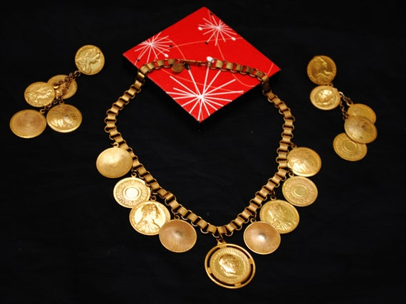 Miriam Haskell Coin Necklace  earring Set - Gold roman Coins - Dangle pierced earrings - Book chain link - Brassy gold link necklace