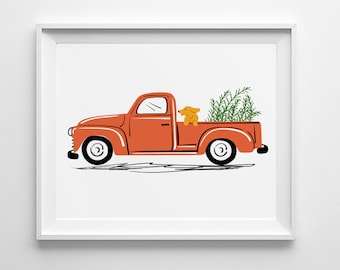 Vintage Red Pickup Truck Illustration, dog art, nursery wall art, nursery decor, country decor, folk art, vintage car illustration, Ford