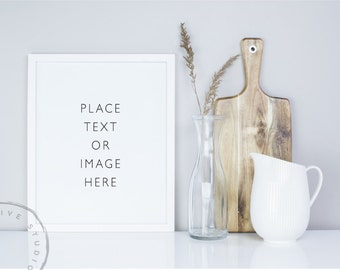 Styled Stock Photo | White Picture Frame and Cutting Board | Styled photography | Kitchen Details