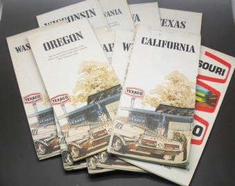 HM Gousha Texaco US States Road Maps Late 60's