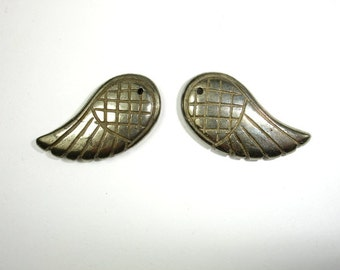 Pyrite Beads, 15 x 30mm Carved Wing Beads, 2 pieces, Hole 1 mm, A quality (361077003)