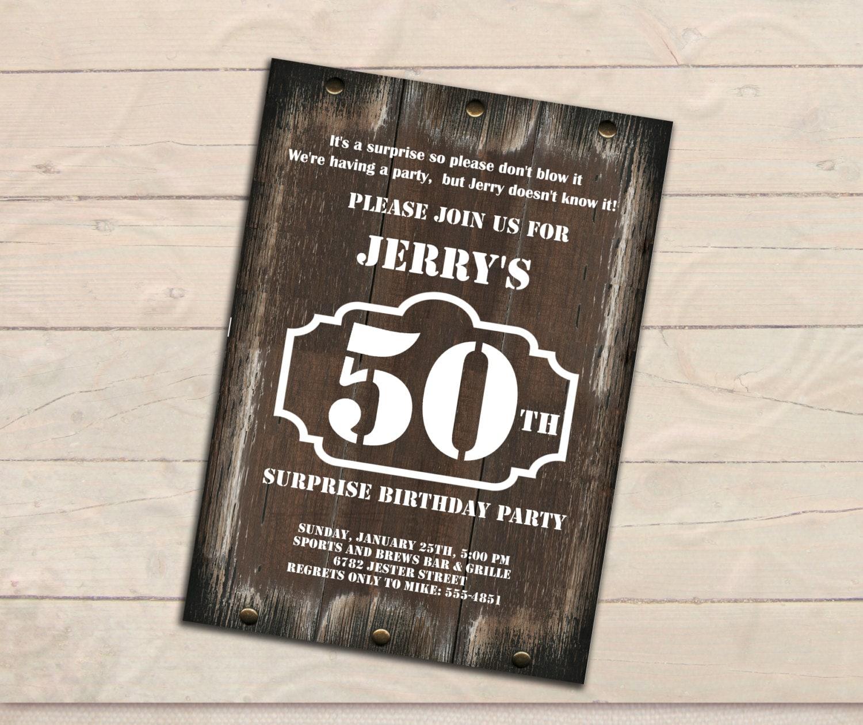 Surprise 50th birthday invitation men invitation rustic zoom filmwisefo