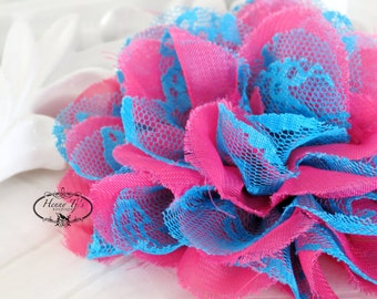"NEW : 2 pieces 3.5"" Shabby Chic Frayed Chiffon Mesh and Lace Rose Fabric Flower - Hot Pink w/ Blue lace"