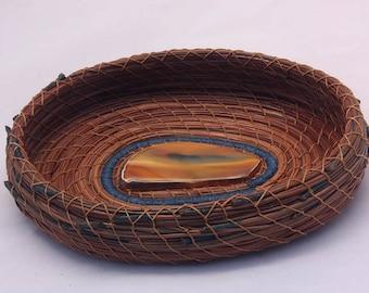 Pine Needle Basket Handblown Blue Glass Center- Item 727 by Susan Ashley
