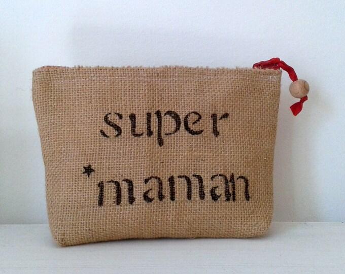 Kit, makeup case, Burlap, gift, fabric, canvas, romantic, burlap fabric, super MOM pouch