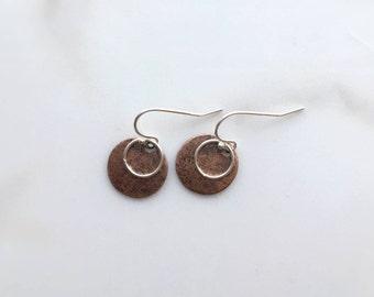 Copper Disc Earrings, Circlet Earrings, Mixed Metal Earrings, Rustic Copper Earrings, Sterling Silver Earring Hoop, Dangle Earrings
