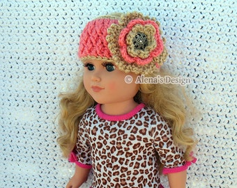 "Crochet Pattern 123 Crochet Flower Headband Pattern for 18 inch Doll Crochet Patterns 18"" American Doll Clothes Christmas Gift for Girl"