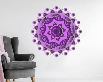 Mandala Wall Decals Mehndi Full Color Mural Boho Vinyl Sticker Lotus Flower Bohemian Bedroom Ornament Moroccan Pattern Yoga Decor EN62