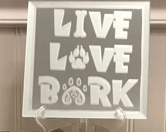 Live Love Bark Etched Mirror 5.8 in x 5.8 in