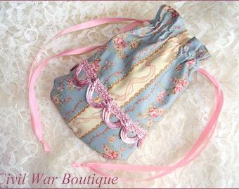 Civil War/ Victorian Blue Stripes Roses Drawstring RETICULE PURSE 100% cotton