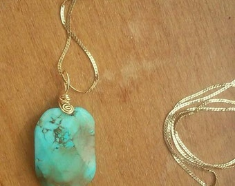 Wire Wrapped Turquoise Pendant in Gold or Silver