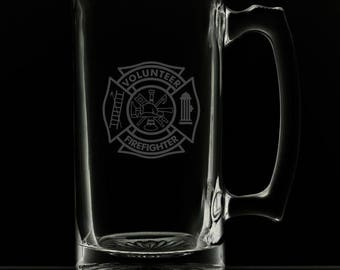 25 Ounce Volunteer Fire Department Personalized Beer Mug