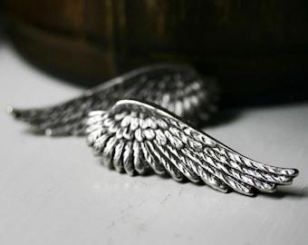 Silver Angel Wing Earrings - Post Stud
