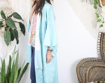 Silk kimono, Antique Vintage kimono Extra long kimono Oriental Boho Maxi kimono, 4210