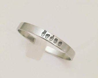 Sign Language Jewelry - Name Cuff Bracelet - Hand Stamped Jewelry -Stacking Bangles Personalized Cuff Bracelet - ASL Jewelry - Sign Jewelry