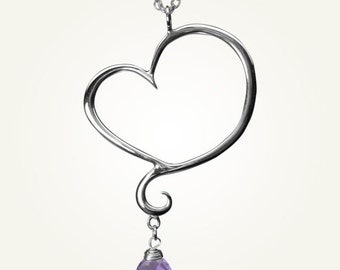 Heart Necklace with Amethyst, Sterling Silver, Handcrafted, Swirl, Unique, Elegant, Love. APHRODITE NECKLACE with Amethyst.