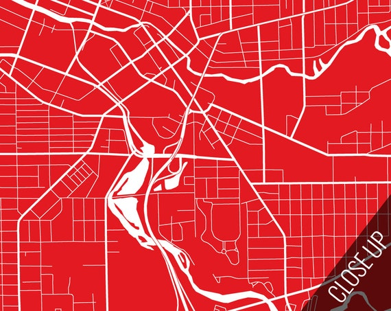 BATTLE CREEK Map Art Print Battle Creek City Poster Battle