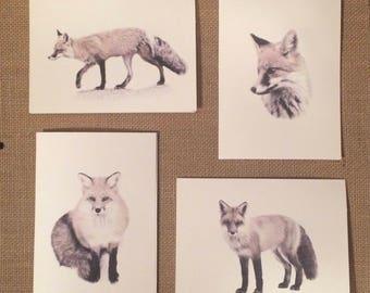 Set of 12 Handmade Blank Red Fox Print Note Cards