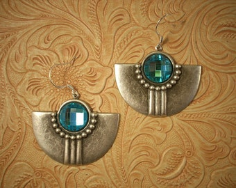 Rodeo Cowgirl Southwest Style Turquoise Crystal Earrings