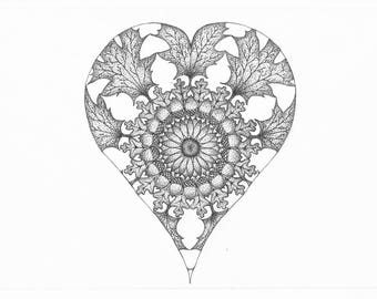 Autumn Heart Dot-Work Mandala A4 Art Print